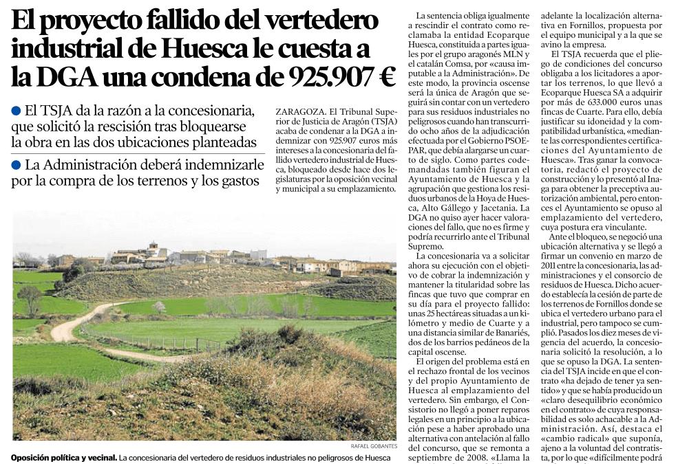 El TSJA condena a la DGA a una indemnización de 925.907 € por el proyecto del vertedero de Huesca